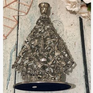 Vintage Christmas tree silver zinc decor candle